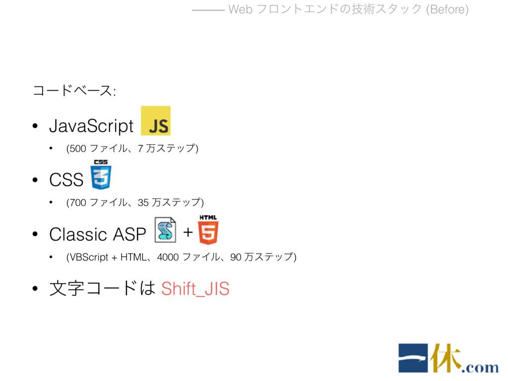 ⸻ Web ϑϩϯτΤϯυͷٕज़ελοΫ (Before) ίʔυϕʔε: • JavaScr...