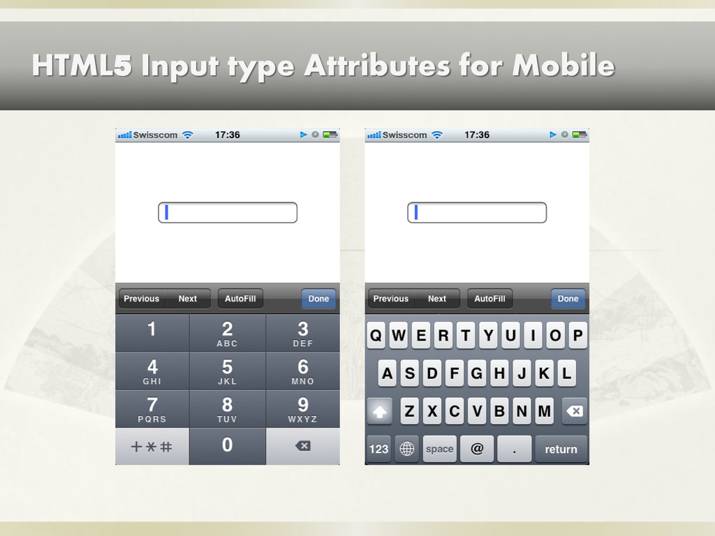 HTML5 Input type Attributes for Mobile