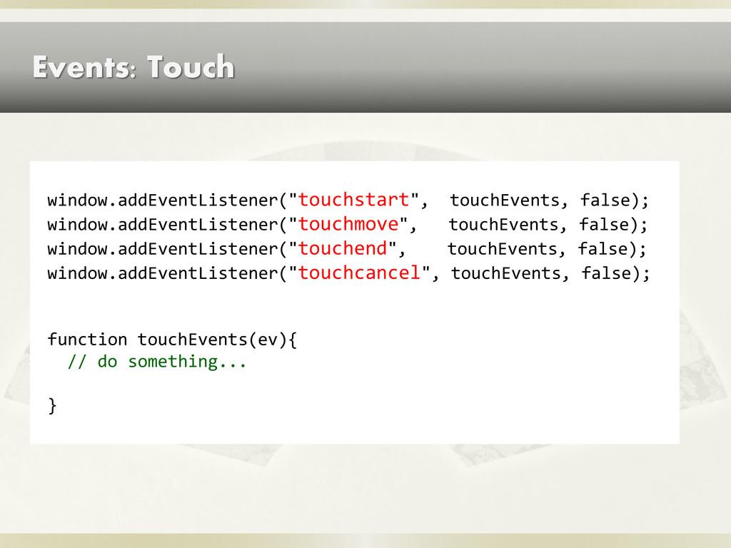 """Events: Touch window.addEventListener(""""touchsta..."""