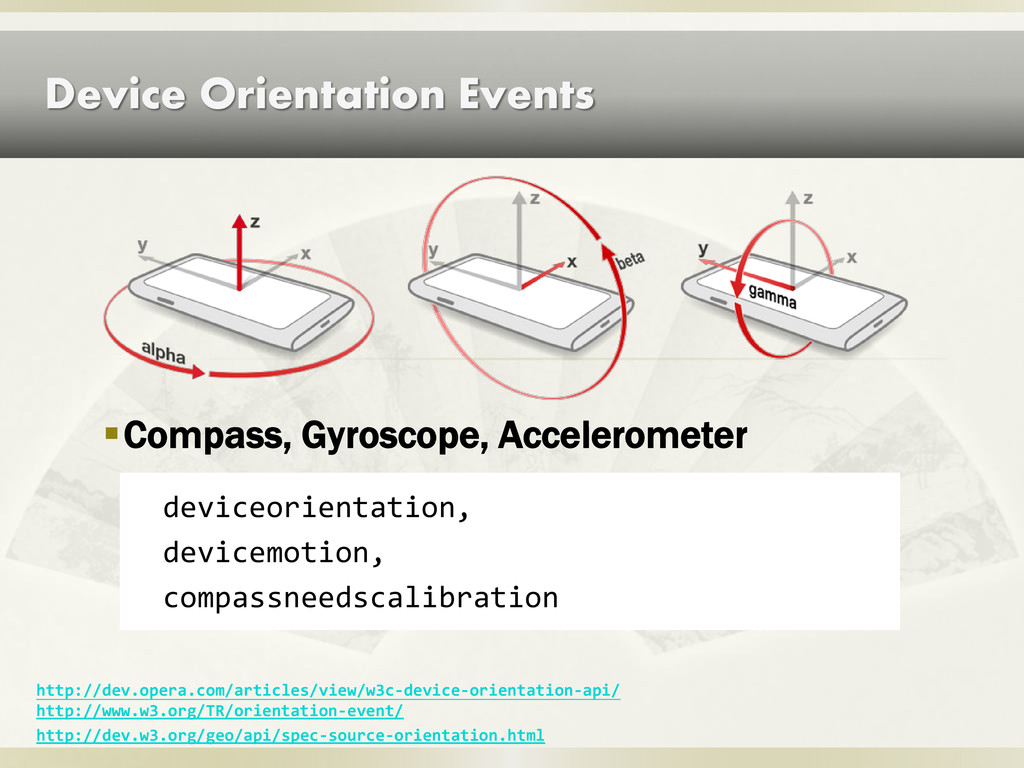 Device Orientation Events Compass, Gyroscope, ...