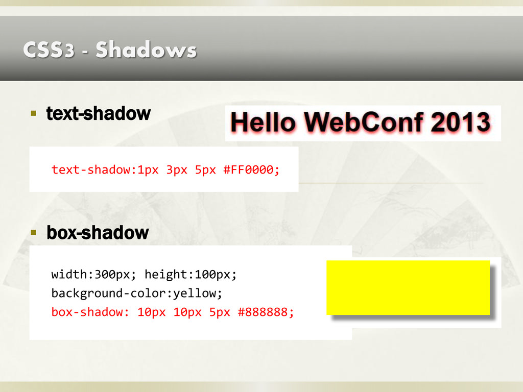 CSS3 - Shadows  text-shadow text-shadow:1px 3p...