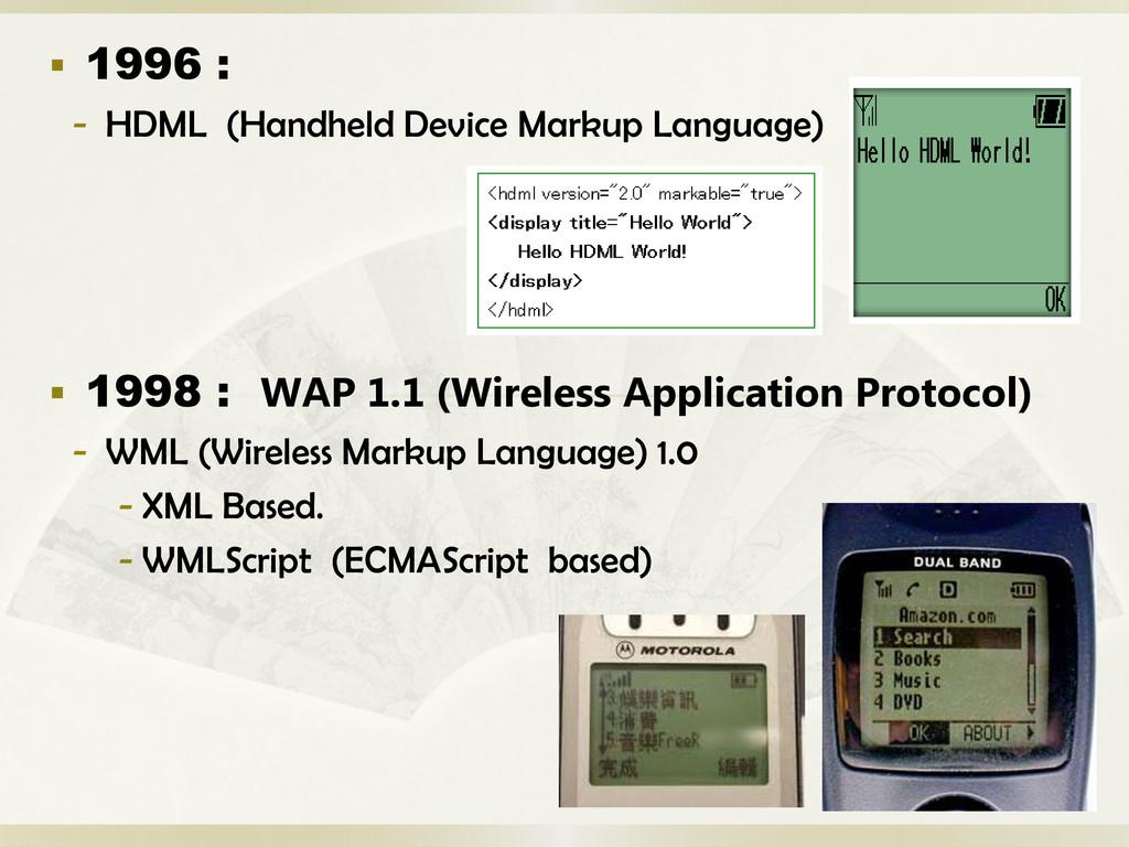  1996 : - HDML (Handheld Device Markup Languag...