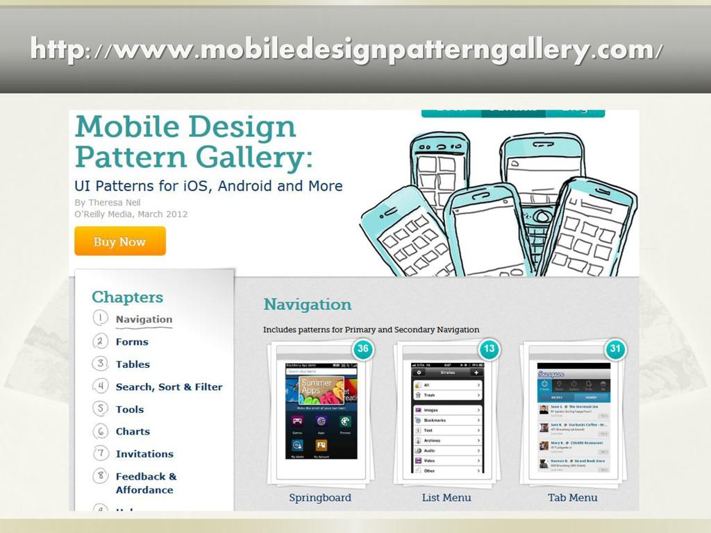 http://www.mobiledesignpatterngallery.com/