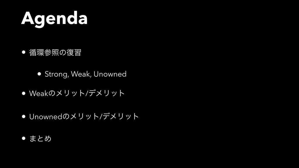 Agenda • ॥রͷ෮श • Strong, Weak, Unowned • Weak...