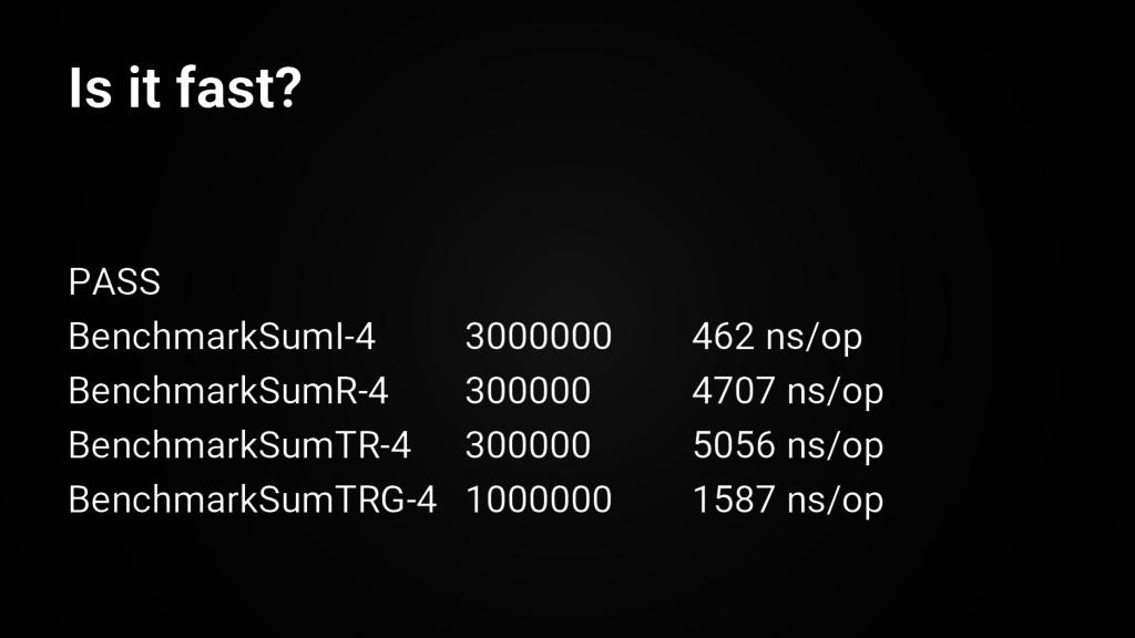 PASS BenchmarkSumI-4 3000000 462 ns/op Benchmar...