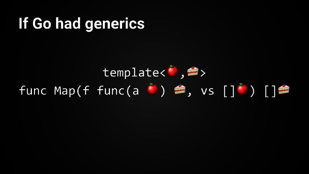 template< , > func Map(f func(a ) , vs [] ) [] ...