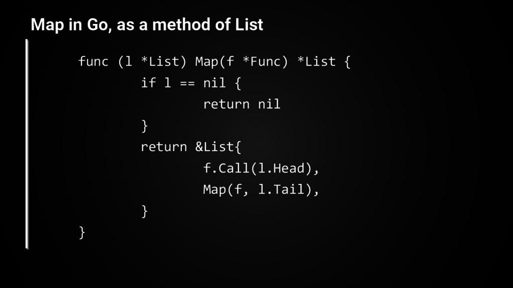 func (l *List) Map(f *Func) *List { if l == nil...