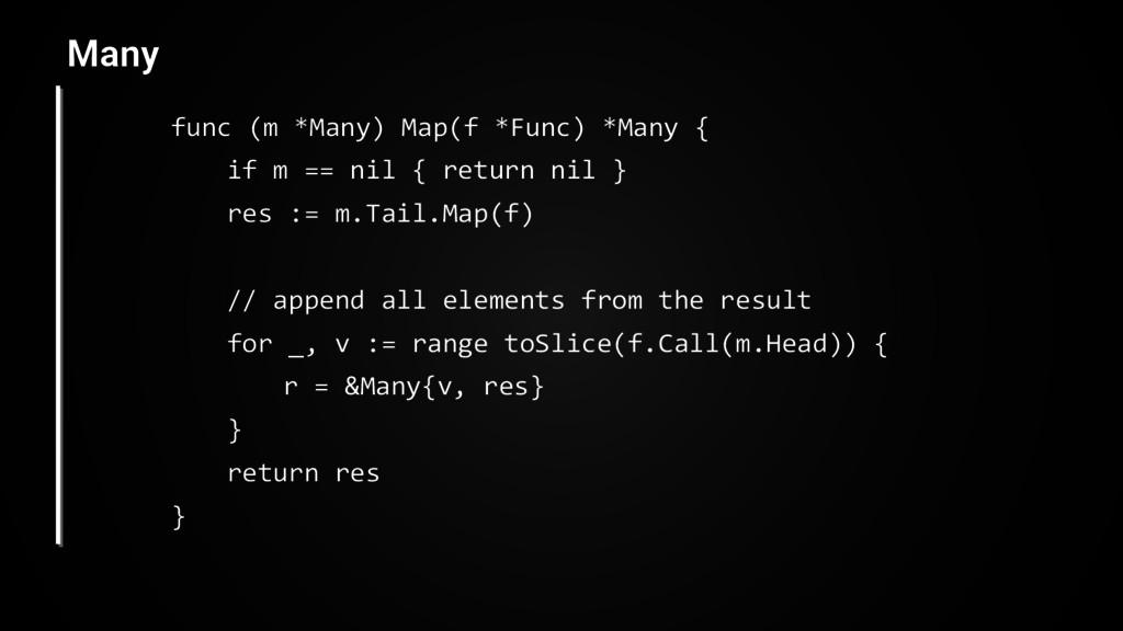 func (m *Many) Map(f *Func) *Many { if m == nil...