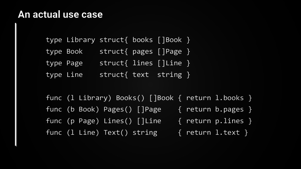 type Library struct{ books []Book } type Book s...