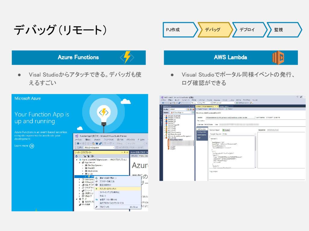 デバッグ(リモート) ● Visal Studioからアタッチできる。デバッガも使 えるすごい...