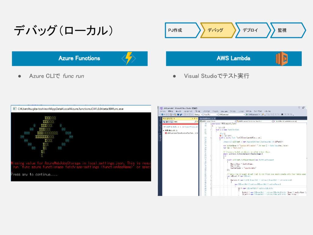 デバッグ(ローカル) ● Azure CLIで func run ● Visual Studi...