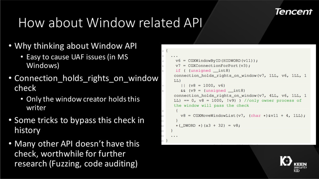 How about Window related API • Why thinking abo...