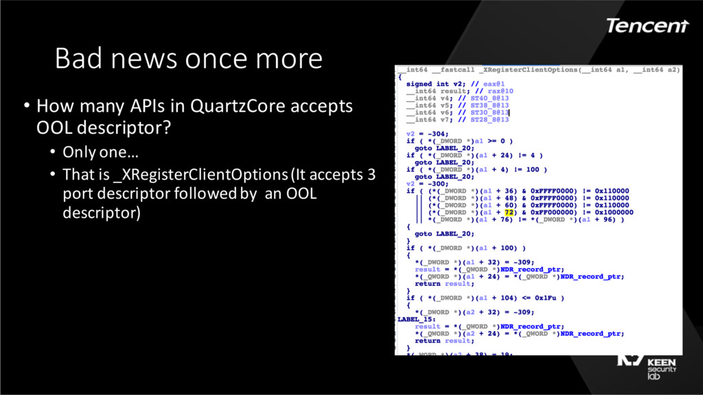 Bad news once more • How many APIs in QuartzCor...