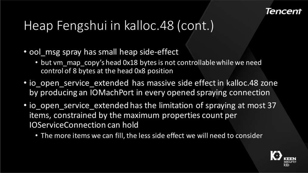 Heap Fengshui in kalloc.48 (cont.) • ool_msg sp...