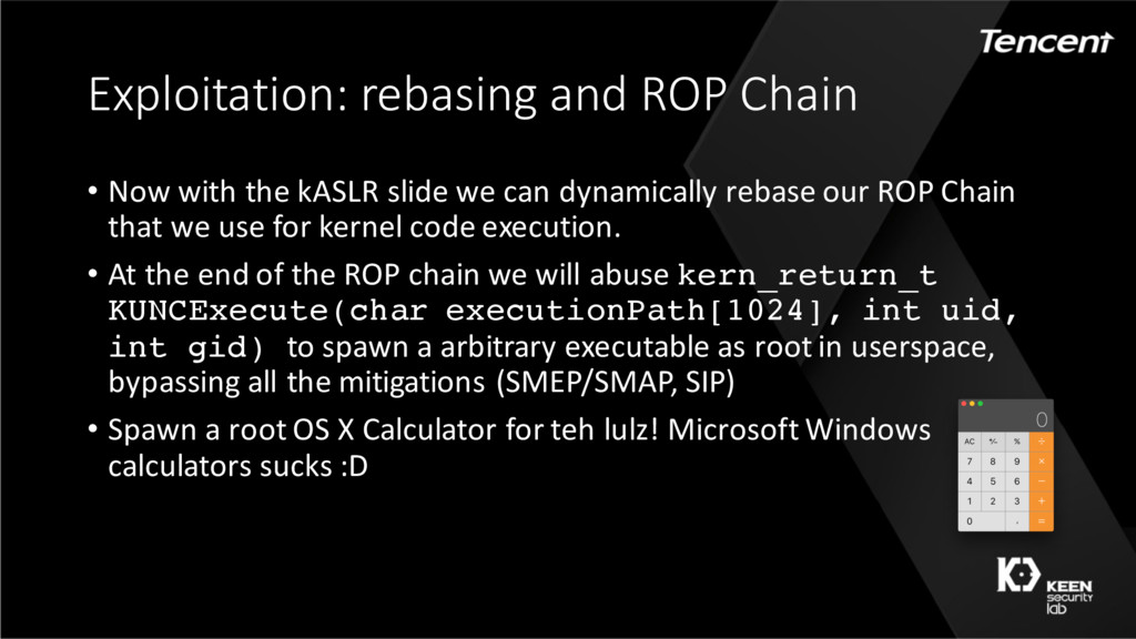 Exploitation: rebasing and ROP Chain • Now with...