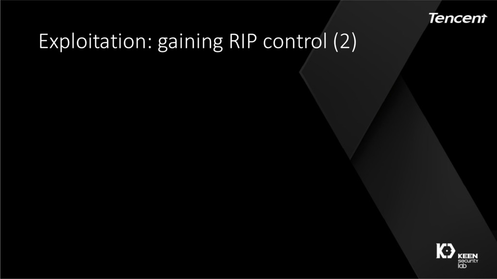 Exploitation: gaining RIP control (2) IOAccelCo...