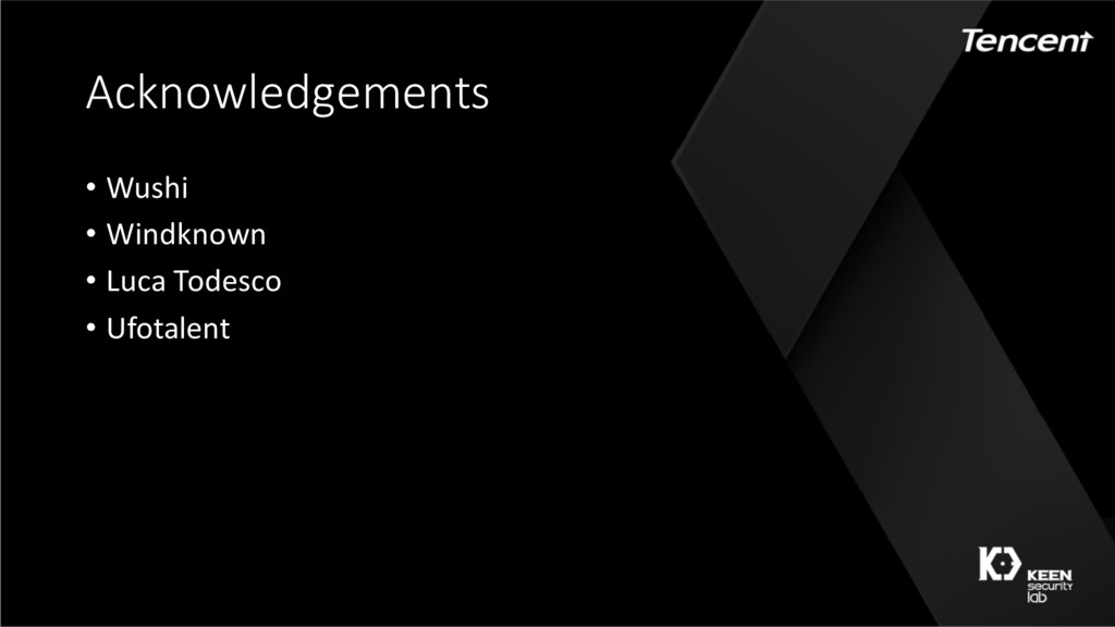 Acknowledgements • Wushi • Windknown • Luca Tod...