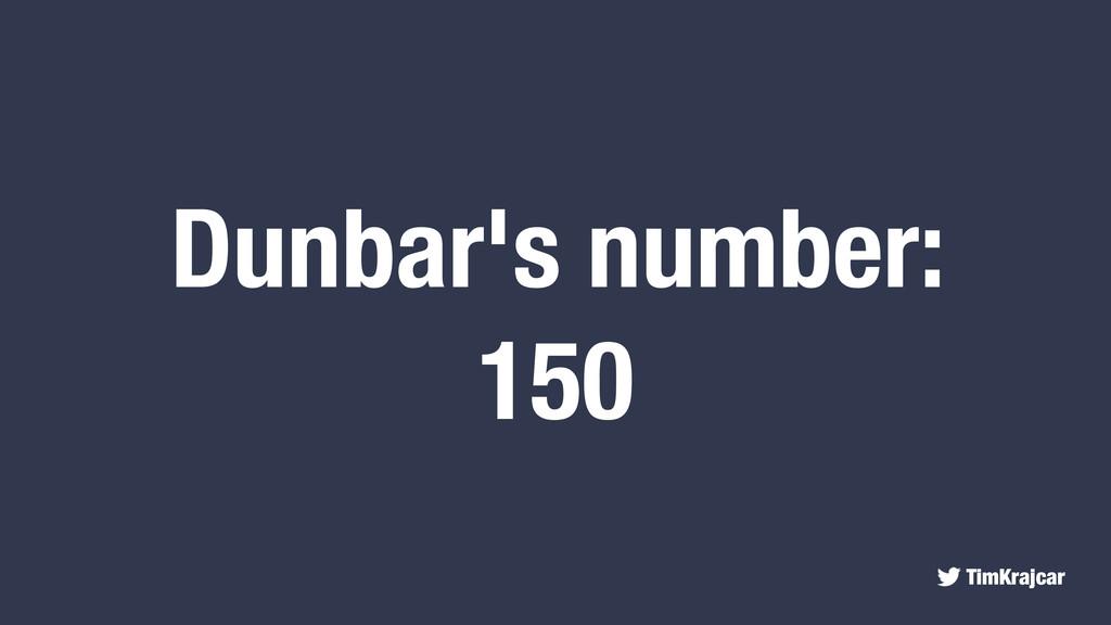 TimKrajcar Dunbar's number: 150