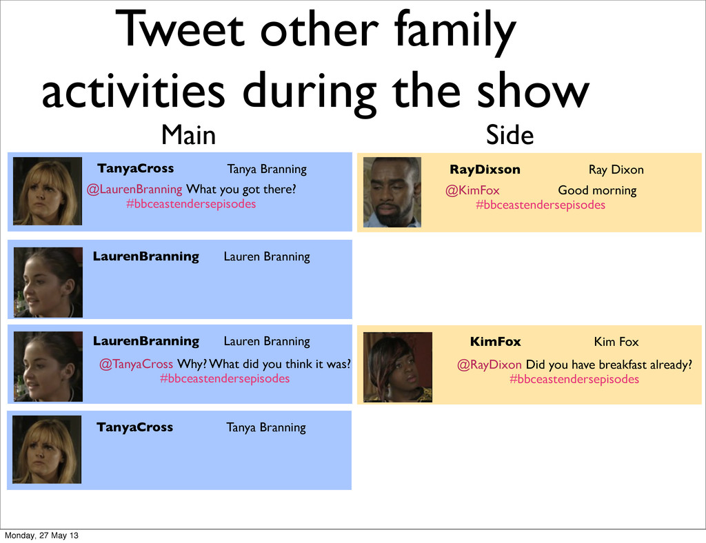 Tweet other family activities during the show T...