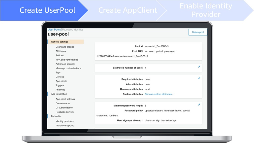 Create UserPool Create AppClient Enable Identit...
