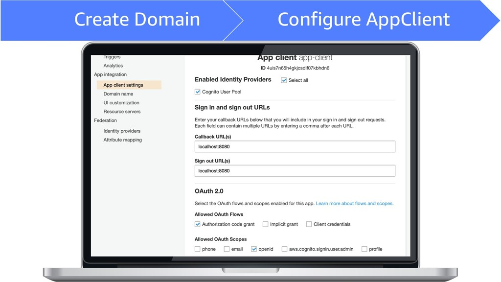 Create Domain Configure AppClient
