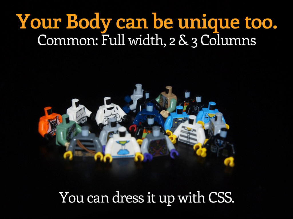 Your Body can be unique too. Common: Full width...