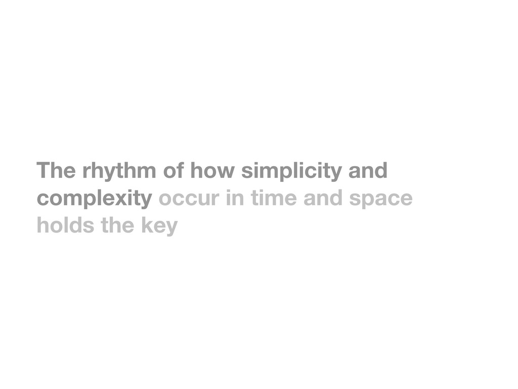 The rhythm of how simplicity and complexity occ...