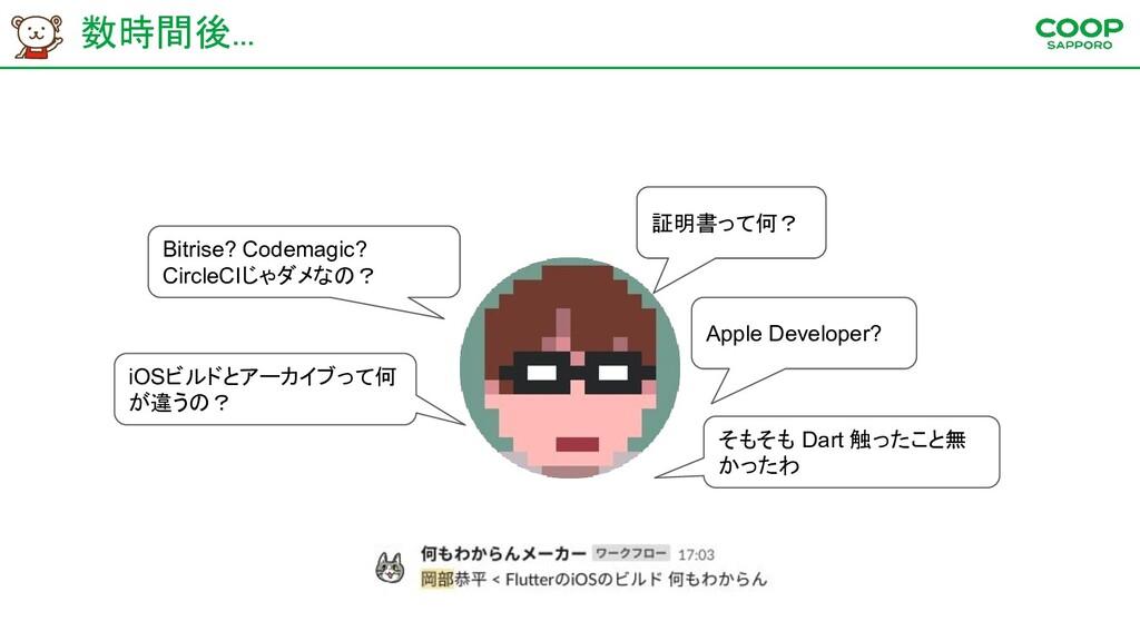 数時間後... 証明書って何? Apple Developer? Bitrise? Code...