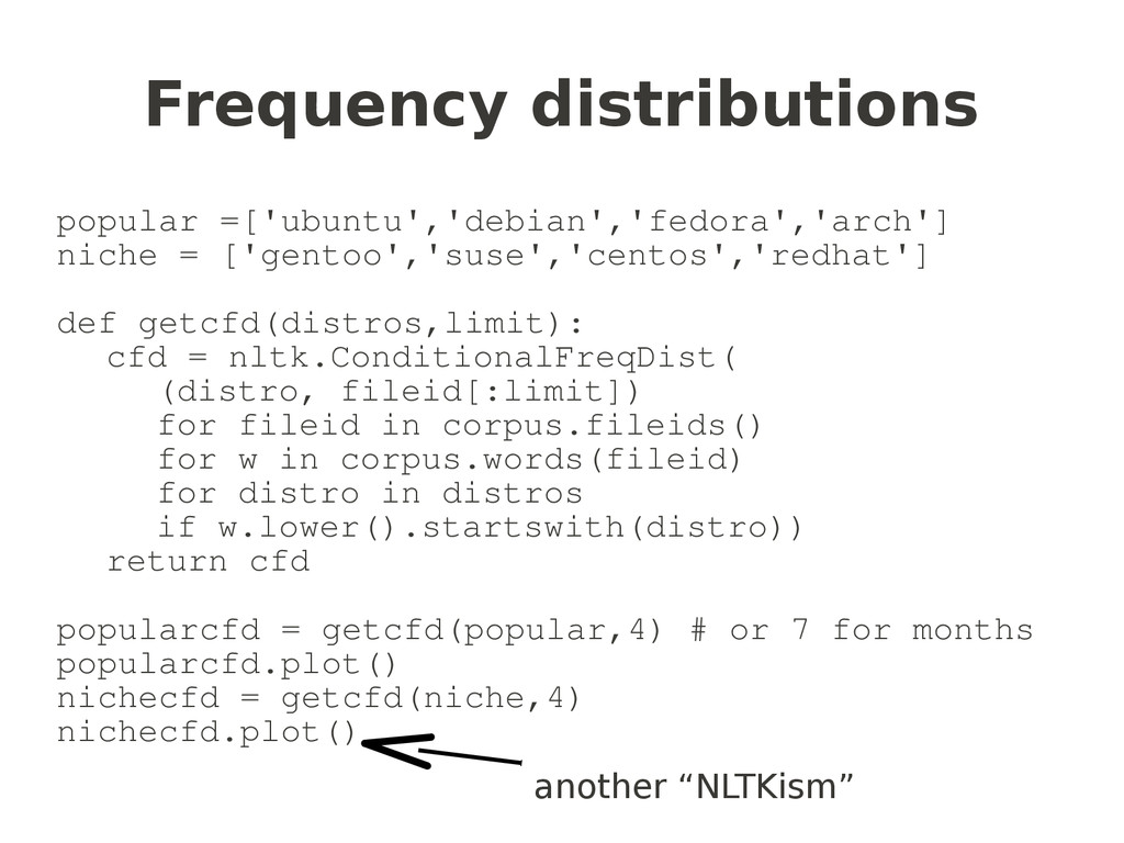 Frequency distributions popular =['ubuntu','deb...