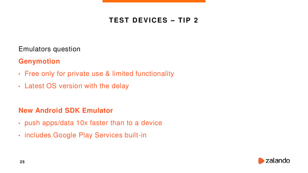 25 TEST DEVICES – TIP 2 Emulators question Geny...