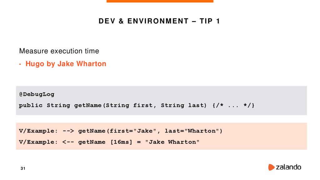 31 DEV & ENVIRONMENT – TIP 1 Measure execution ...
