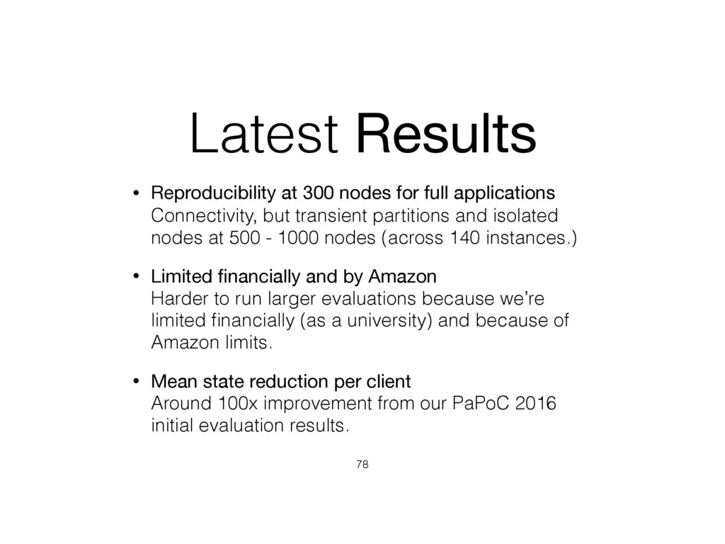 Latest Results • Reproducibility at 300 nodes f...