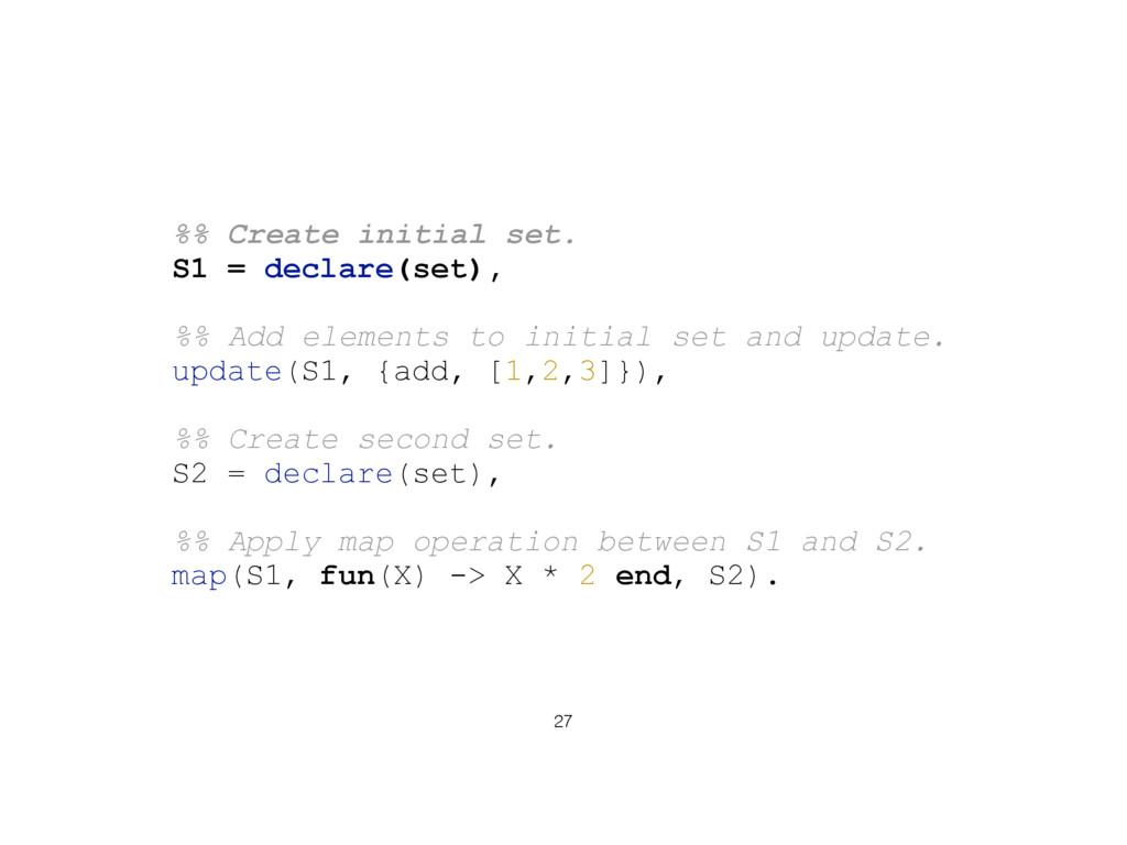 27 %% Create initial set. S1 = declare(set), %%...