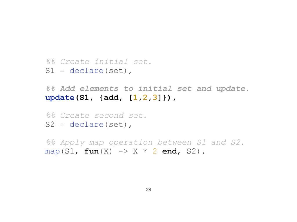 28 %% Create initial set. S1 = declare(set), %%...