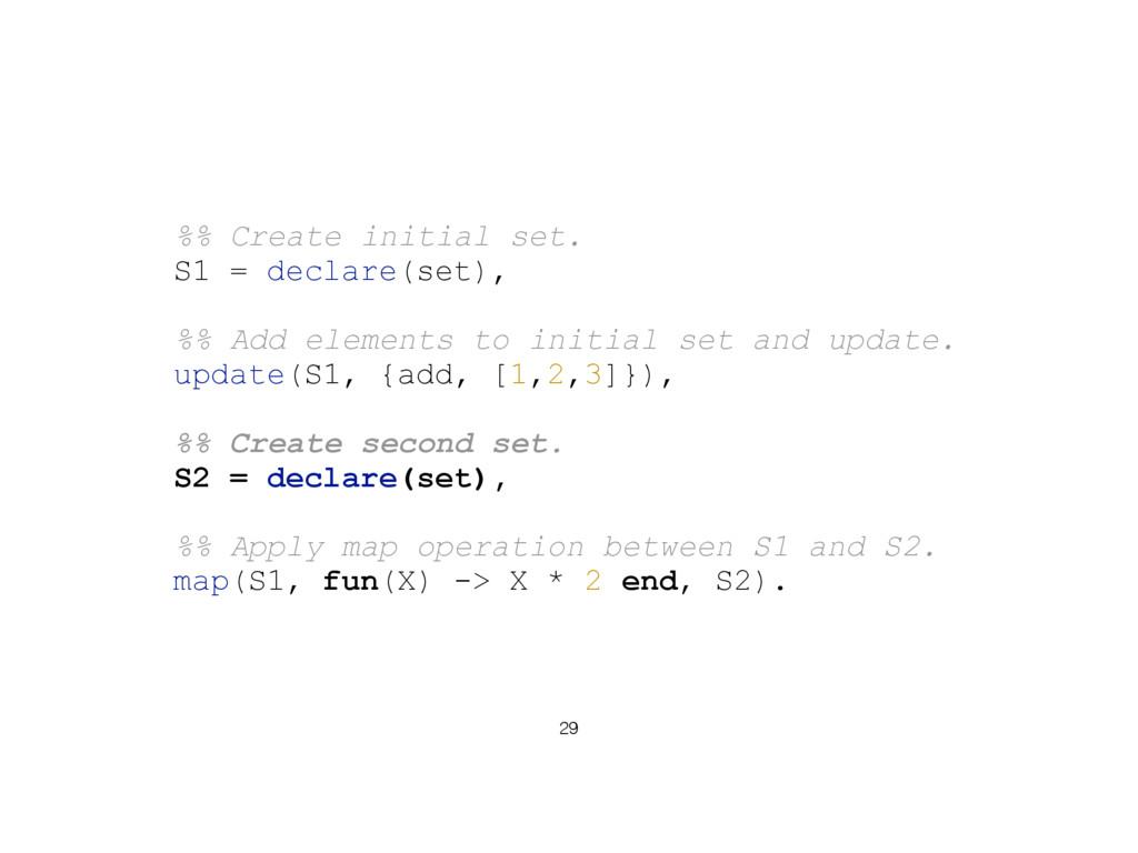 29 %% Create initial set. S1 = declare(set), %%...