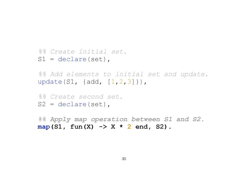 30 %% Create initial set. S1 = declare(set), %%...