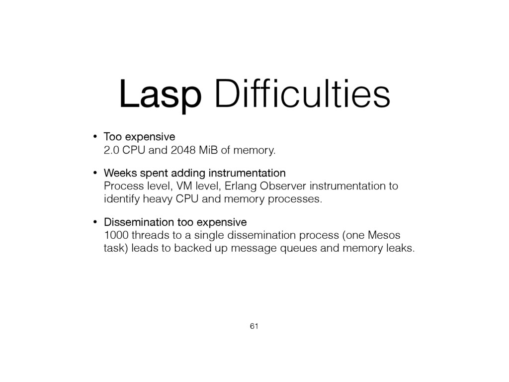 Lasp Difficulties • Too expensive 2.0 CPU and 2...