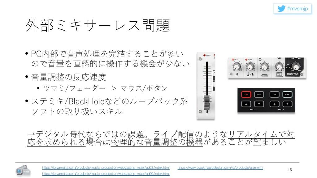 NWTNKQ 外部ミキサーレス問題 • PC内部で⾳声処理を完結することが多い ので⾳量を直...
