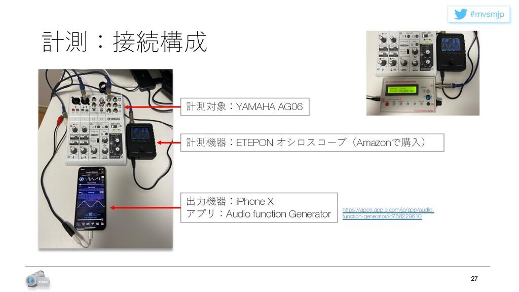 NWTNKQ 計測:接続構成 27 出⼒機器:iPhone X アプリ:Audio func...