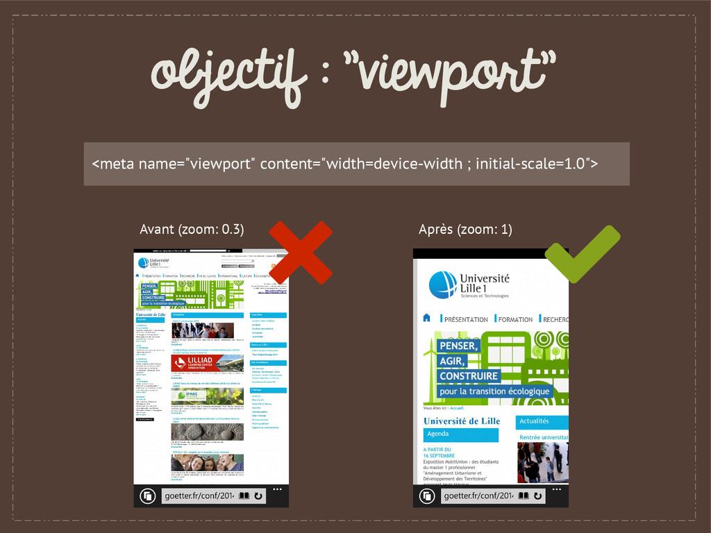 "objectif : ""viewport"" <meta name=""viewport"" con..."