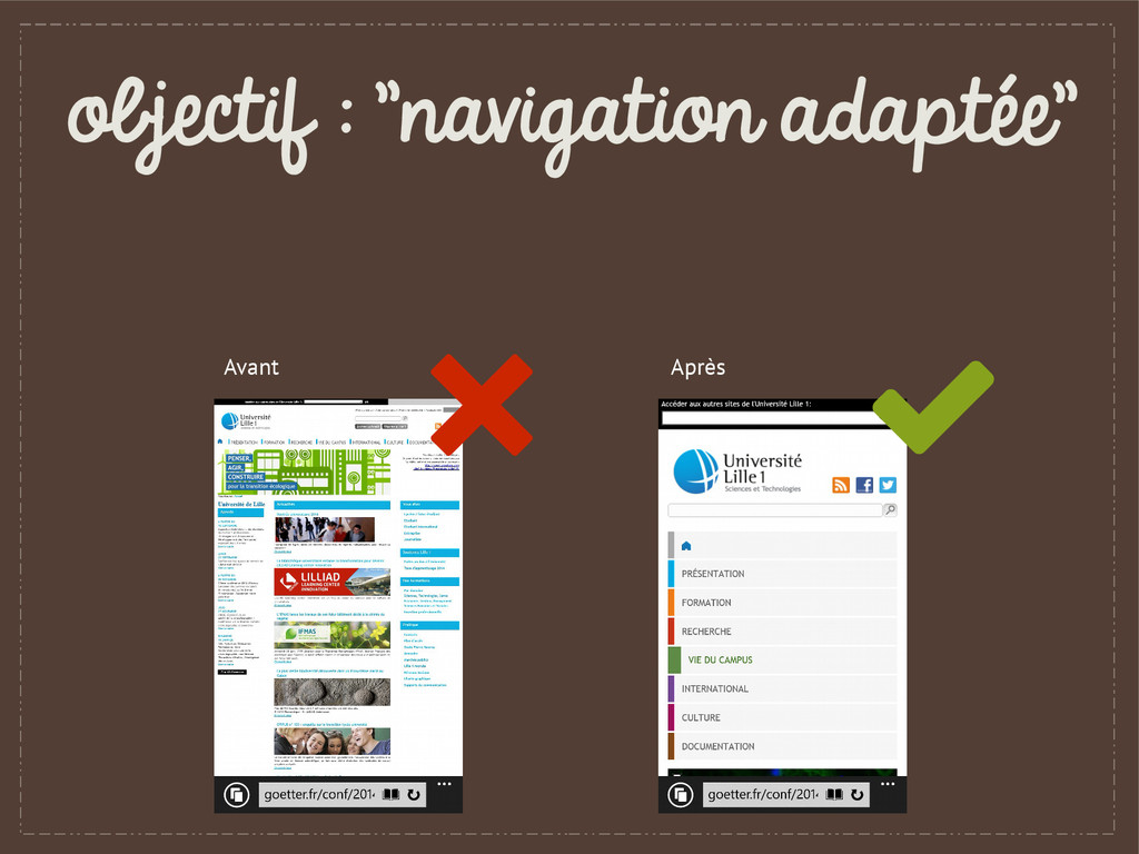 "objectif : ""navigation adaptée"" Avant Après"