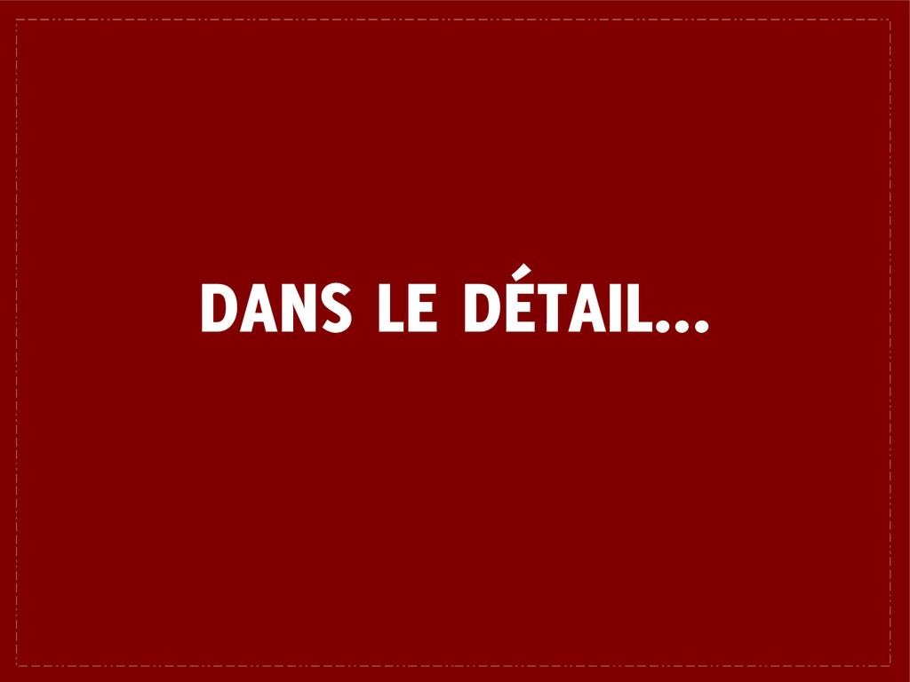 DANS LE DÉTAIL...