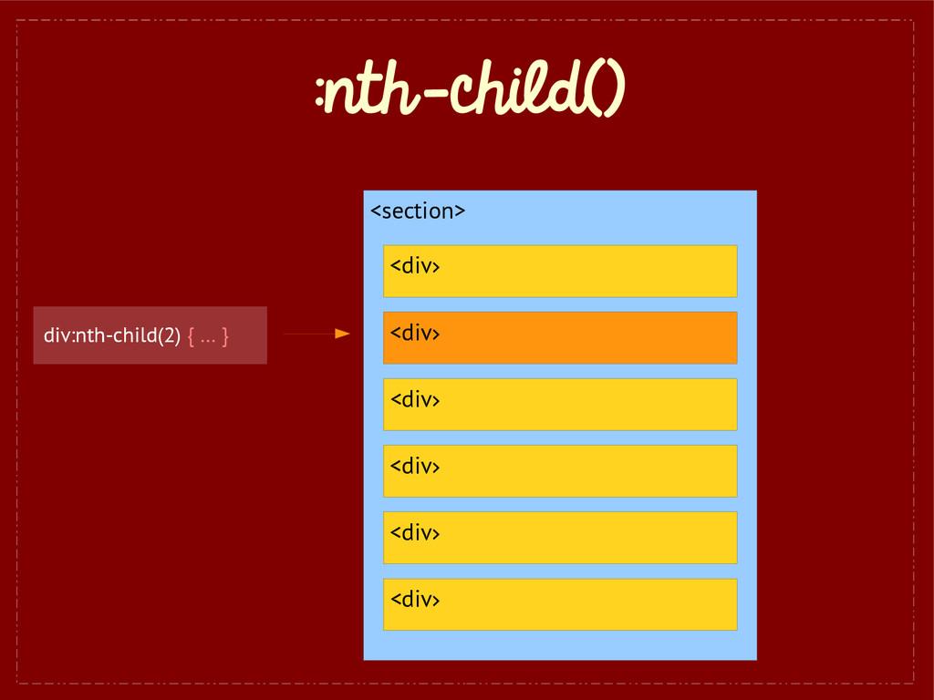 :nth-child() <section> <div> <div> <div> <div> ...