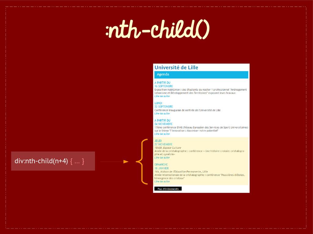 :nth-child() div:nth-child(n+4) { … }