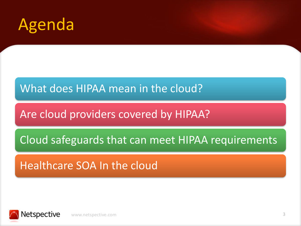 3 www.netspective.com Agenda What does HIPAA me...