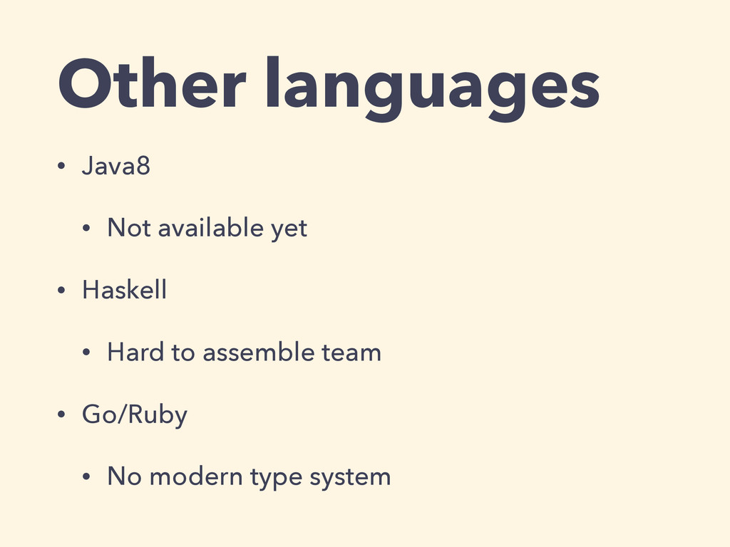 Other languages • Java8 • Not available yet • H...