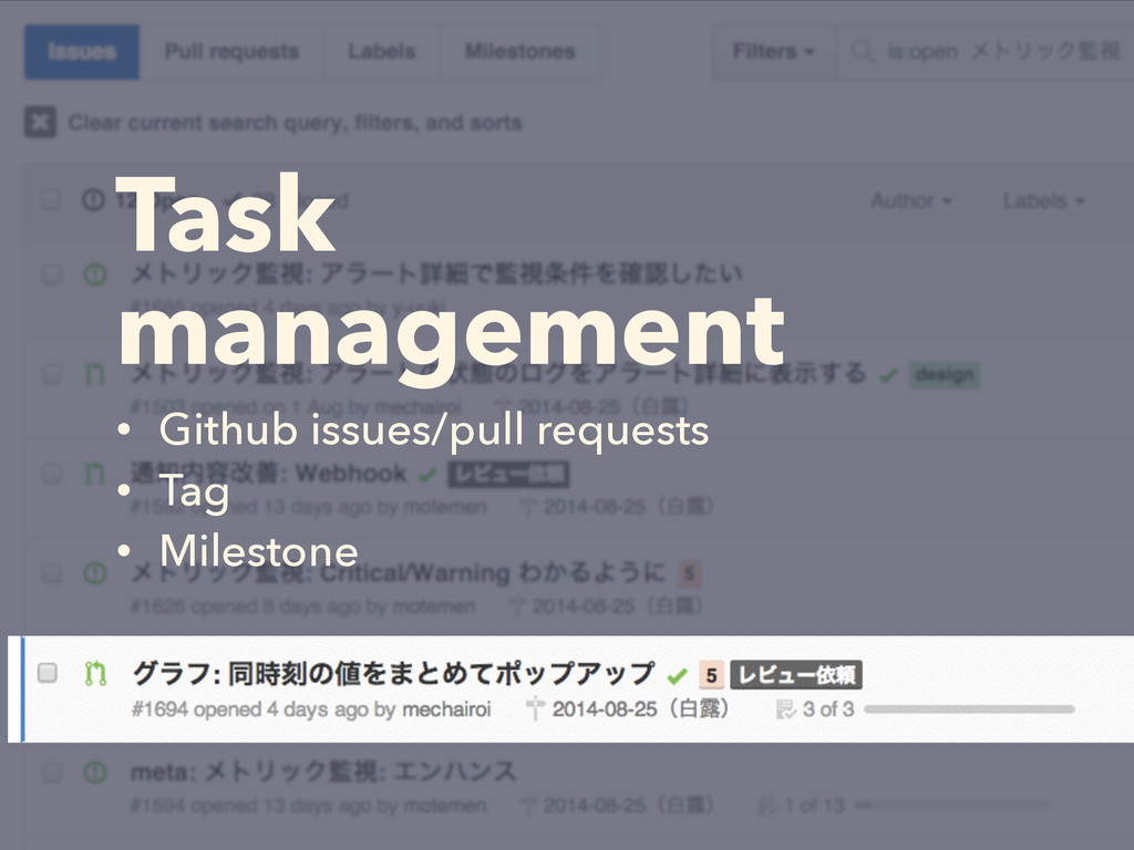 Task management • Github issues/pull requests •...