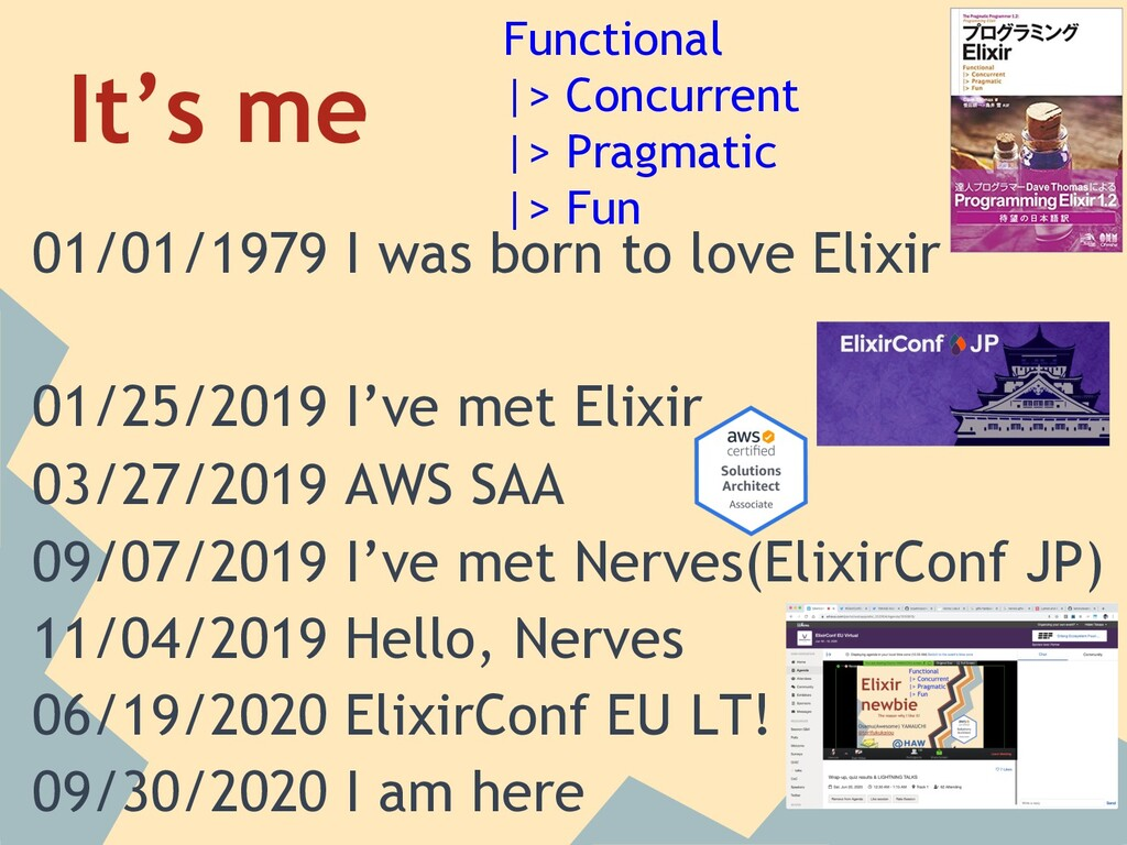 It's me 01/01/1979 I was born to love Elixir 01...
