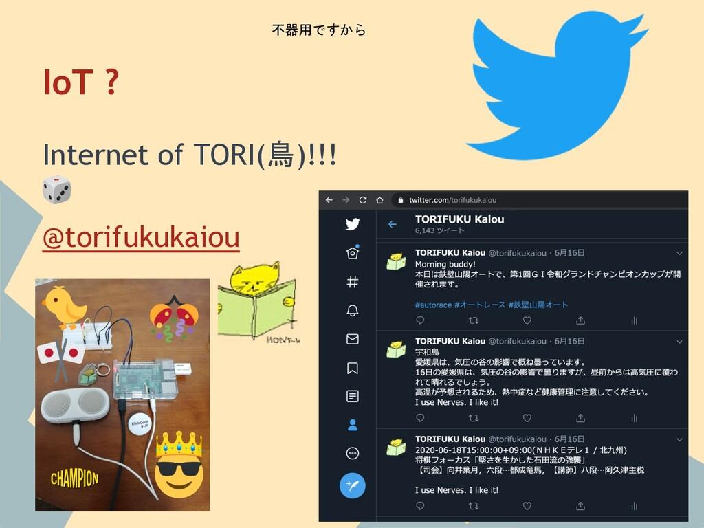 IoT ? Internet of TORI(鳥)!!!  @torifukukaiou 不器...