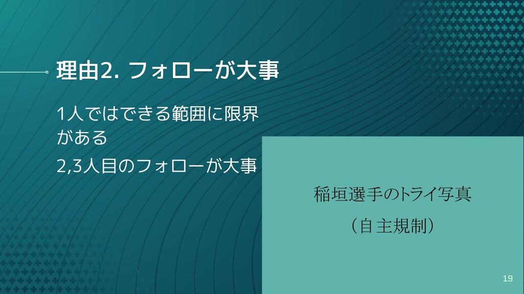 稲垣選手のトライ写真 (自主規制) 理由2. フォローが大事 1人ではできる範囲に限界 が...